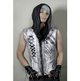 Post Apocalyptic Black And White Distressed Jacket Vest Punk Rock Slim Fit