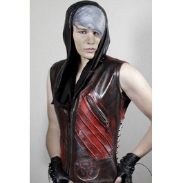 Post Apocalyptic Blood Red Predator Distressed Rocker Jacket Vest Slim Fit