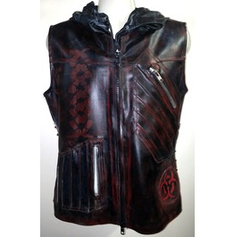 Post Apocalyptic Blood Red Biker Hooded Black Jacket Vest Goth Rock