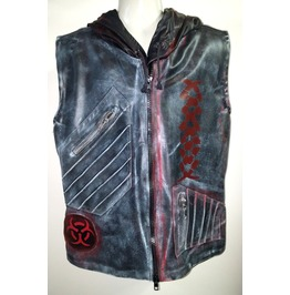 Post Apocalyptic Black Biker Hooded Jacket Vest Gothic Punk