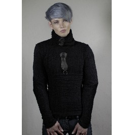 Italiano Couture Black Detachable Turtleneck Sweater