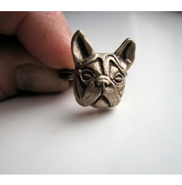 French Bulldog Head Ring