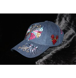 Denim Baseball Cap Butterfly Glam Rock Urban Wear