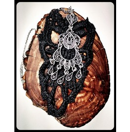 Antique Silver Gypsy Filigree Black Lace Statement Stainless Steel Necklace
