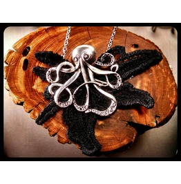 Gothic Antique Silver Octopus Black Lace Oddities Stainless Steel Necklace