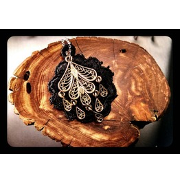Gothic Bronze Gypsy Filigree Teardrop Stainless Steel Necklace Steampunk