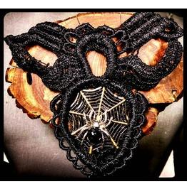 Handmade Gothic Silver Spider Bronze Spiderweb Black Lace Choker Necklace