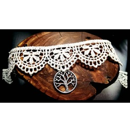 Handmade Tree Life Ivory White Lace Choker Necklace Victorian Steampunk