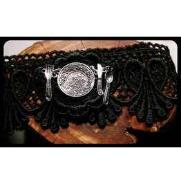 Handmade Antique Silver Silverware Tea Party Black Lace Choker Necklace