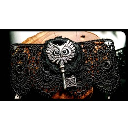 Handmade Antique Silver Owl Key Black Lace Choker Necklace Steampunk