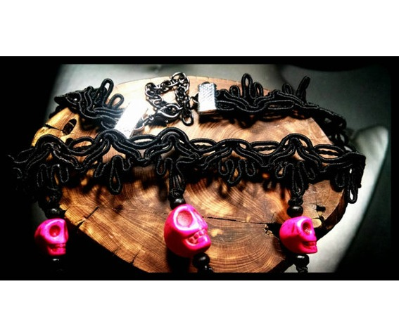 pink_howlite_stone_day_dead_sugar_skull_black_lace_choker_necklace_necklaces_4.jpg
