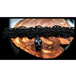 Black Onyx Stone Day Dead Sugar Skull Black Lace Choker Necklace
