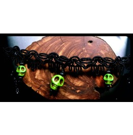 Sugar Skull Lime Green Howlite Day Dead Black Lace Choker Necklace