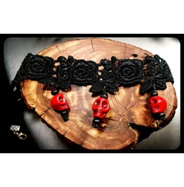 Rose Red Sugar Skull Howlite Day Dead Black Lace Choker Necklace
