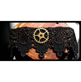 Handmade Antique Bronze Steampunk Gear Black Lace Choker Necklace