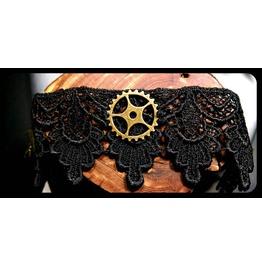 Handmade Antique Bronze Steampunk Gear Black Lace Choker Necklace