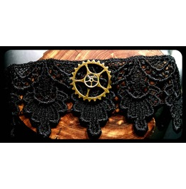 Handmade Antique Bronze Steampunk Gear Trio Black Lace Choker Necklace