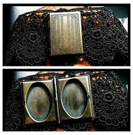 Handmade Bronze Steampunk Book Locket Black Lace Choker Victorian Necklace