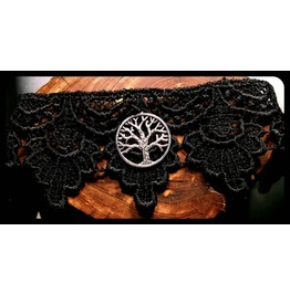 Handmade Antique Silver Tree Life Black Lace Choker Necklace