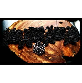 Winter Snowflake Frozen Snow Rose Black Lace Choker Necklace