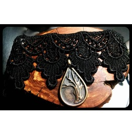 Handmade Antique Bronze Fantasy Lore Magic Tree Black Lace Choker Necklace