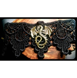 Handmade Antique Bronze Mother Dragons Black Lace Choker Necklace