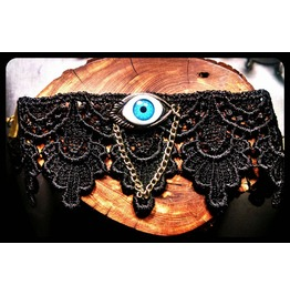 Handmade Seeing Eye Turquoise Evil Eye Black Lace Choker Necklace
