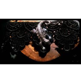 Handmade Crawling Lizard Salamader Newt Black Lace Choker Necklace