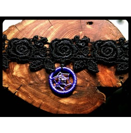 Handmade Lavender Light Purple Dreamcatcher Rose Black Lace Choker Necklace