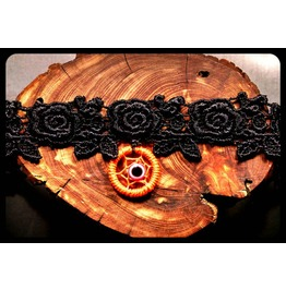 Handmade Neon Orange Evil Eye Dreamcatcher Rose Black Lace Choker Necklace