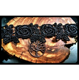 Handmade Antique Copper Tree Life Black Lace Choker Necklace