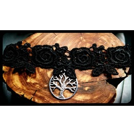 Antique Silver Tree Life Black Lace Choker Handmade Necklace