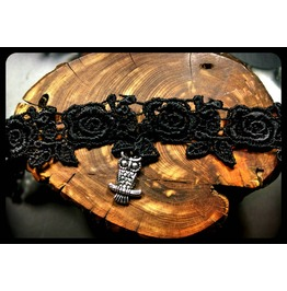 Handmade Antique Silver Owl Rose Black Lace Choker Necklace