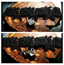 Handmade Silver Heart Message Box Love Note Rose Black Lace Choker Necklace