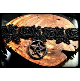 Handmade Silver Pentagram Pagan Wiccan Star Rose Black Lace Choker Necklace