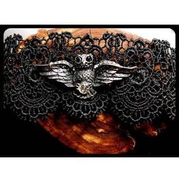 Handmade Antique Silver Flying Owl Hedwig Black Lace Choker Necklace