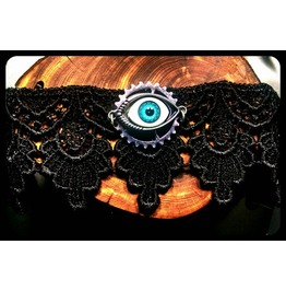 Handmade Steampunk Sight Turquoise Evil Eye Black Lace Choker Necklace