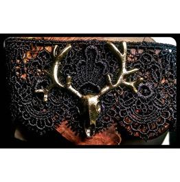 Handmade Antique Bronze Deer Skull Black Lace Choker Steampunk Necklace