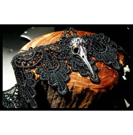 Handmade Silver Raven Bird Skull Black Lace Choker Steampunk Necklace