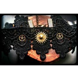 Handmade Bronze Steampunk Watch Dials Gears Cogs Black Lace Choker Necklace