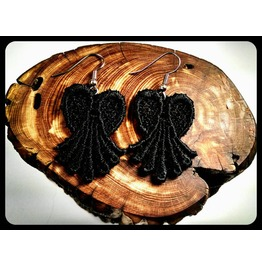 Handmade Hypoallergenic Black Lace Heart Earrings Surgical Steel