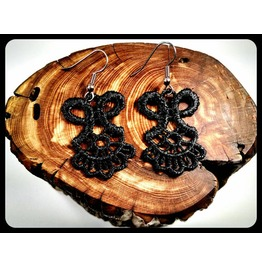 Handmade Hypoallergenic Black Lace Surgical Steel Earrings