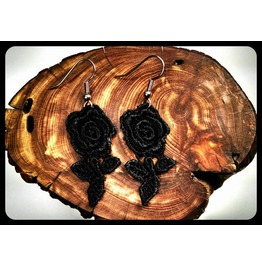 Handmade Hypoallergenic Black Lace Roses Surgical Steel Earrings