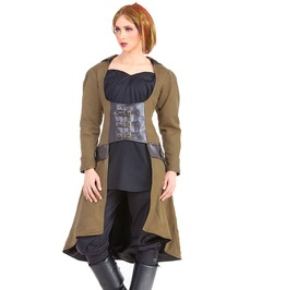 Steampunk Gothic Womens Costume Bust Vampire Trench Coat C1352