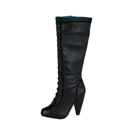 Tuk Ladies Size 9 Knee Length Victorian Buttoned Boot Rocket Heel