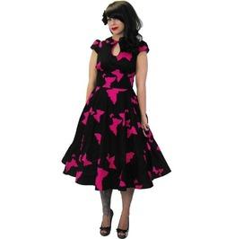 Pink Butterfly 50s Swing Rockabilly Dress Last Size Small Free To Ship