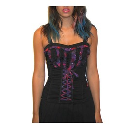 Tripp Black Purple Plaid Ruffles Corset Top Size Small Discount! $9 To Ship
