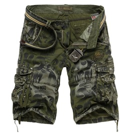 Men's Blue/Green/Gray Multi Pocket Cargo Short