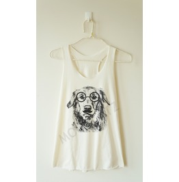 Glasses Dog Shirt Dog Shirt Glasses Top Animal Top Women Racer Back Shirt