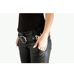 Handmade Leather Black Rocker Belt